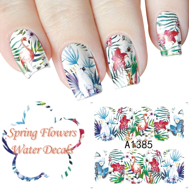 schmetterling nagel aufkleber transfer wasser voll nail art wraps frhling blumen manikre diy salon muster fingernagel - Muster Fingernagel