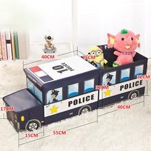 NEW Bus Shape Toys Organizer for Kids Clohtes Toy Storage Box Folding Cartoon Car Toy Storage Basket Children Storage Bin