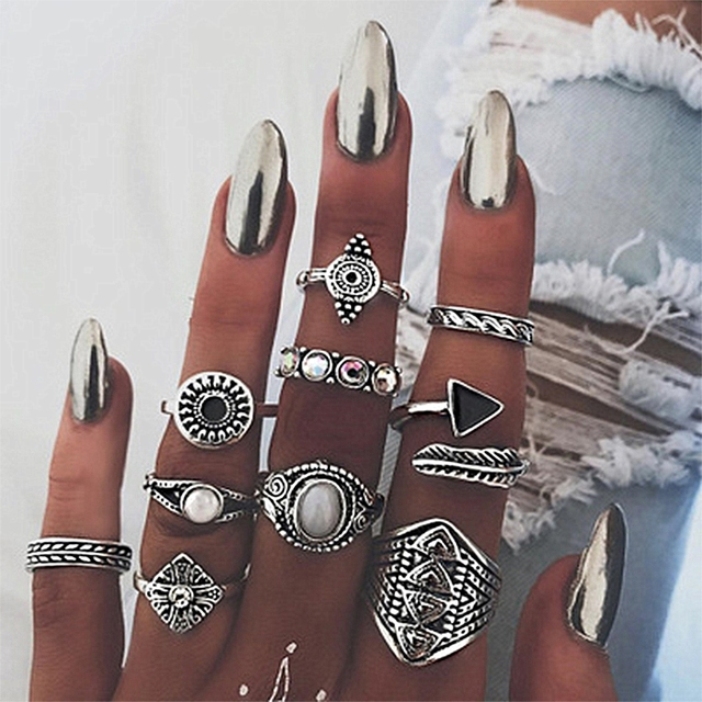 KISSWIFE New 10 Pcs/Set Vintage Punk Ring Set Antique Color Silver Leaf Midi Rin