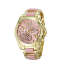 2016 Luxury Brand Watches Women Geneva Quartz Analog Wristwatch Golden Band Roman Numerals Dial Watch Relogio Feminino 10 Color