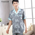 2017 New Luxurious Sleepwear Silk Pyjamas Set Short Sleeve Trousers Mens Silk Satin Pajamas Plus Size 3XL