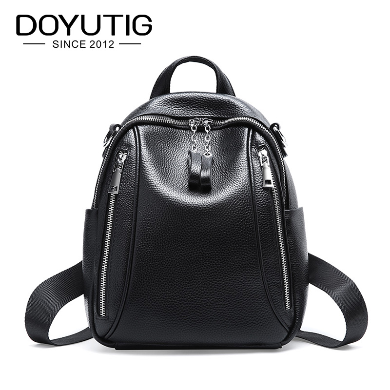 DOYUTIG Womens Black Genuine Leather Casual Backpack Large Capacity Real Leather School Knapsack Lady Fashion Backpacks E178DOYUTIG Womens Black Genuine Leather Casual Backpack Large Capacity Real Leather School Knapsack Lady Fashion Backpacks E178