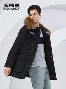 Image 4 - BOSIDENG зимнее утепленное серое пуховое пальто для мужчин, пуховик с большим меховым воротником, парка, водонепроницаемая, размера плюс, теплая, B80142509DS
