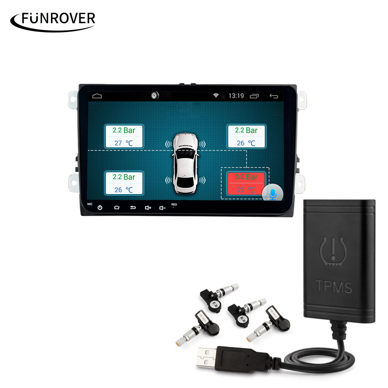 Car TPMS Android Funrover For DVD Player Monitor Wireless Tire Pressure Monitoring System with 4 Internal Tyre Sensors wireless car tpms tire pressure monitor system with internal sensors and monitor