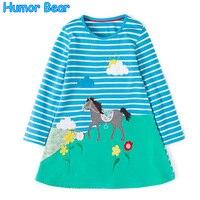 Humor Bear 2017 Kids Clothing Print Design Kids Dress Princess Dress New Fashion Children Clothes Printing