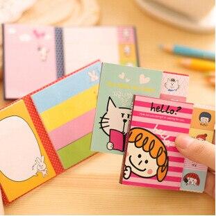 Animal bonito Dos Desenhos Animados 2 Folding Auto-Memorando Pegajosa Almofada de Nota Pad Sticky Notes Memo Gift Set Papelaria Varejo