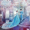 Синий кружева вышивка длинные продольный долго средневековом платье Средневековой Эпохи Возрождения Платье королевы костюм Викторианской платье
