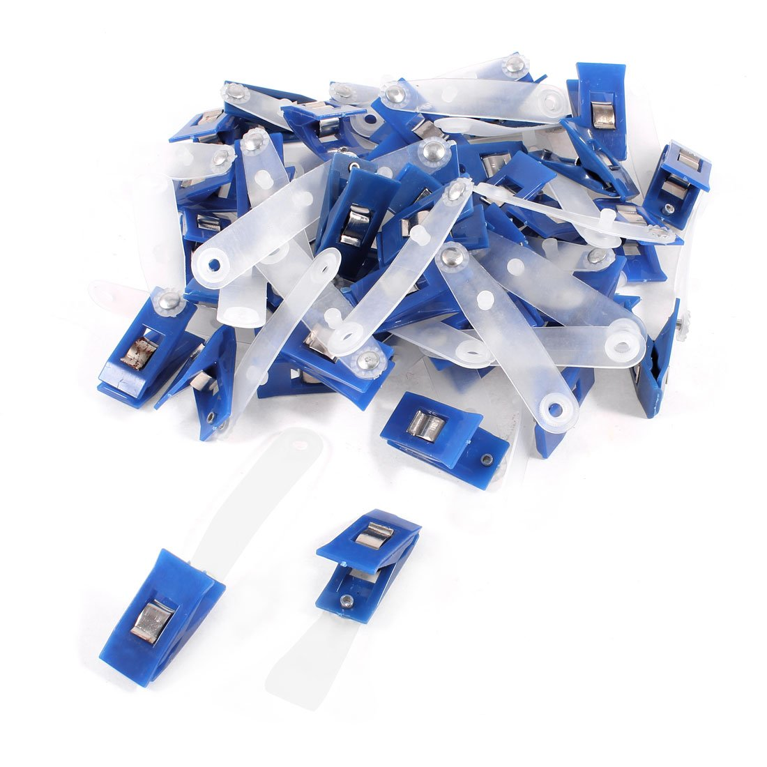 5PACK 40 Pcs Plastic ID Card Holder Name Badge Clips Fastener Blue nahoo retractable nurse badge holder name tag plastic badge real leather card holder vertical credit bus cards office supplies