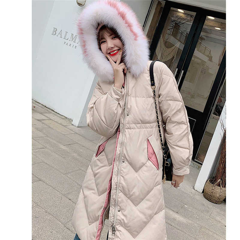 ebfad72cb Down Jacket Women Winter Long section Korean Loose large fur collar 2019  New Casual wild White duck Down Thick Down Coat P048