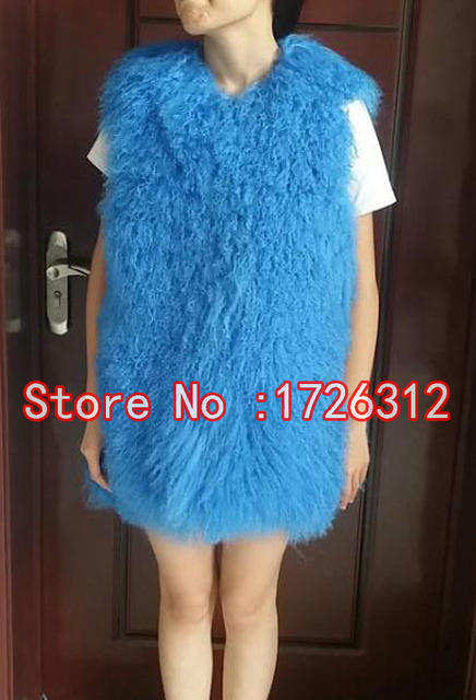 2017 New Beach wool vest the full pelt women long section of fur lambs wool vest jacket mongolia sheep fur vest waistcoat