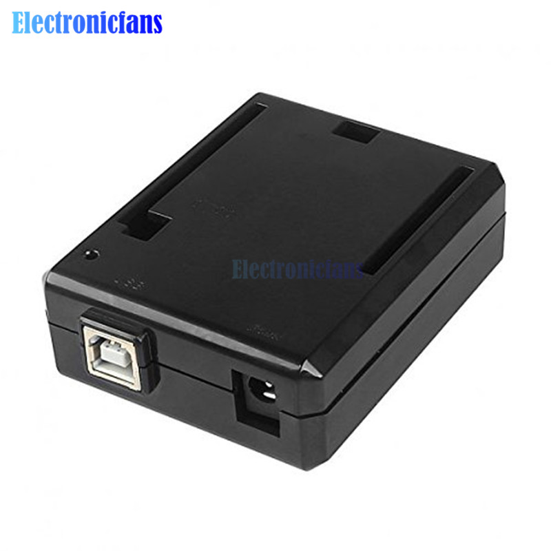 Black ABS Plastic Enclosure Protective Case Box Shell For Arduino UNO R3 Compatible USB Short Current Protection Diy Kit One Hot