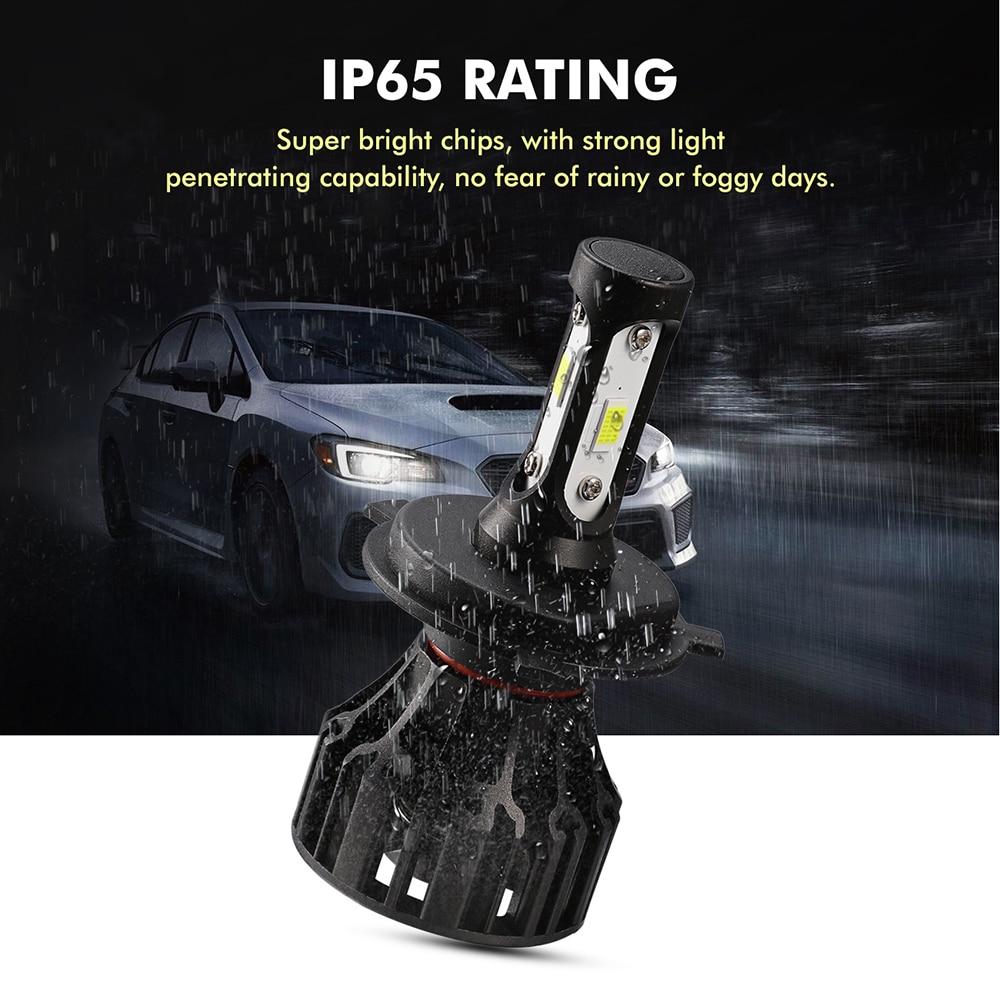 Oslamp 72W COB Chips H4 H7 LED Bilstrålkastarlampor H11 H1 H3 9005 - Bilbelysning - Foto 5