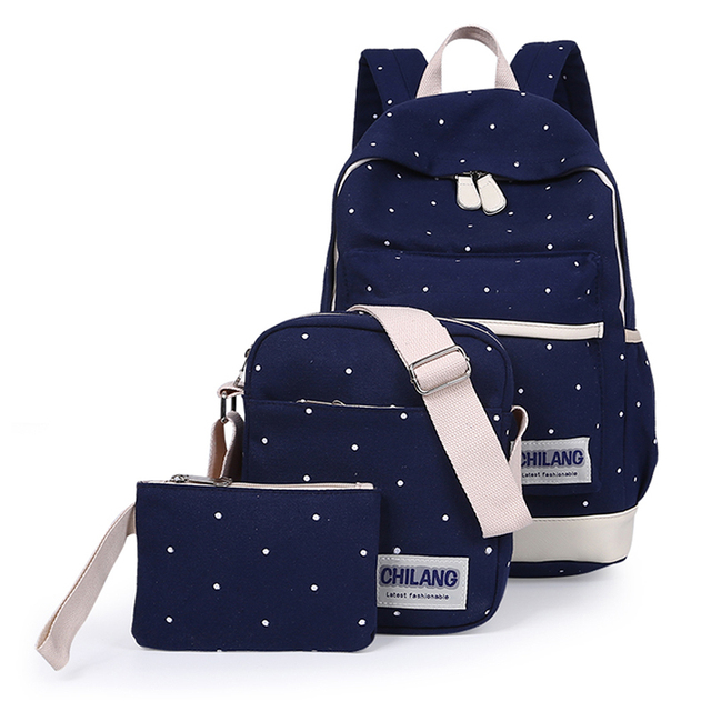 3Pcs/Sets Korean Casual Women Backpacks Canvas Book Bags Preppy Style School Back Bags for Teenage Girls Composite Bag