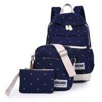 Novo 3 pçs/sets coreano mochilas femininas casuais lona sacos de livro estilo preppy escola volta sacos para adolescentes saco composto bac