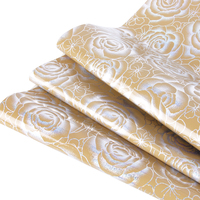 David Accessories 50 135cm Laser Sliver Flowers Synthetic Leather PU Artificial DIY Sewing Fabric Garment