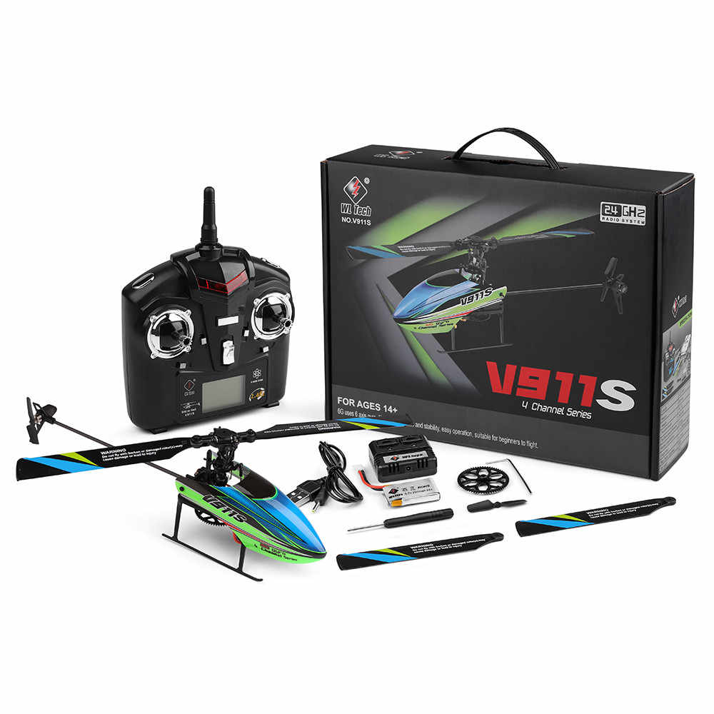 New V911S 2.4G 4CH 6-Aixs Gyro Flybarless RC Helicopter RTF - Mode 2