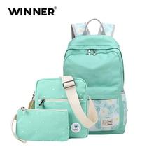 Победитель холст рюкзак женщины повседневный рюкзак с цветочным принтом ноутбук рюкзаки школьная сумка для девочек рюкзак 3 комплекта