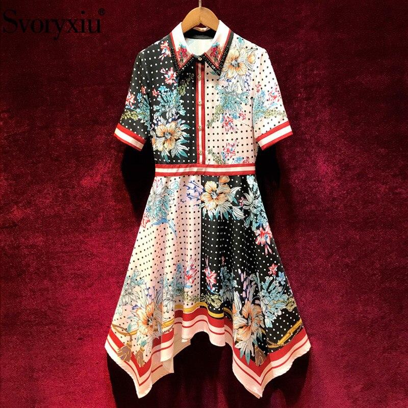 Svoryxiu Elegant Polka Dot Flower Printed Asymmetrical Dress Women's 2019 Designer Summer Vintage Party Midi Dresses Vestdios