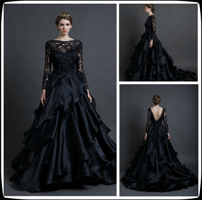 Black Gothic Wedding Dresses Lace Long Sleeve Ball Gown Backless Gowns Bridal Vestido Novia Corto In From Weddings Events