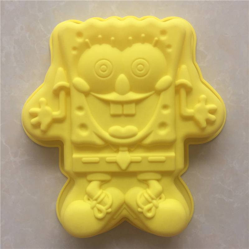 1PCS super cute SpongeBob silicone bakeware cake mold silicone bread baking DIY Free Shipping