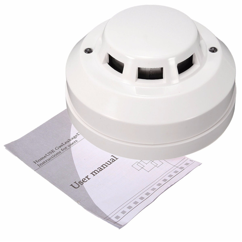 ABS Plastic Waterproof 70db Smoke Detector Home Security Safely Fire Alarm Gas Alarm Sensor System Red LED Flash White golden security lpg detector wireless digital led display combustible gas detector for home alarm system
