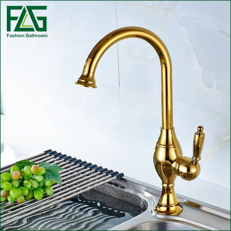 Luxury Gold 360 Degree Rotating Kitchen Faucet New Solid Brass Swivel Spray Gooseneck Sink Mixer Tap everso solid brass kitchen faucet double spouts 360 degree