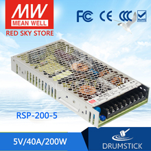 [XIV] Hot! MEAN WELL original RSP-200-5 5V 40A meanwell RSP-200 5V 200W Single Output with PFC Function Power Supply