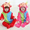Newborn Baby Costume Toddler Romper Spring Hooded Long Sleeve Flannel Red & Rose Monkey Baby Jumpsuit Clothes Infant Baby Romper
