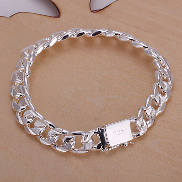 Fashion Bracelet Men Jewelry Sterling Silver Bangle 925 Bracelets For Bangles In Chain Link