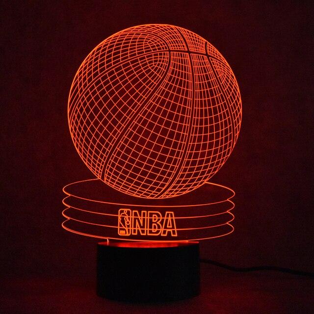 3D USB Visual Led Colorful Gradient Atmosphere Nightlights Table Lamp  Creative NBA Basketball Lamp Lampara Sleeping