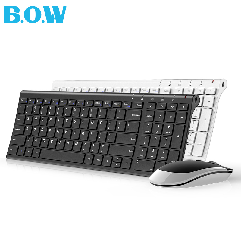 B.O.W  Slim Metal Multimedia Optical Wireless Keyboard and Moue (Silent Design) 2-in-1 Combos for Laptops Desktops PC Computer original 2 4g optical wireless keyboard