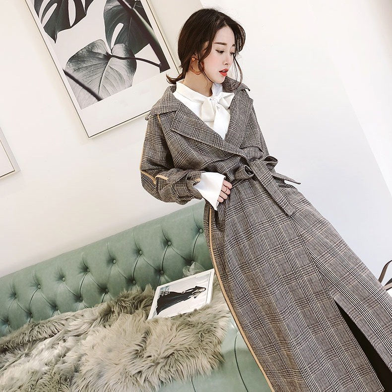 New Women Long Sleeve Plaid   Trench   Coats Elegant Turn-Down Collar Loose Overcoat Autumn Winter Belt Long Outerwear