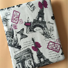 Cotton Linen Blend Fabric French Architecture Printed DIY Sewing Canvas Material Manual Quilting Textile