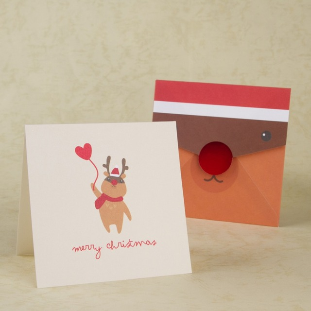 merry christmas card handmade christmas invitations cards cute reindeer happy new year thank you message gifts