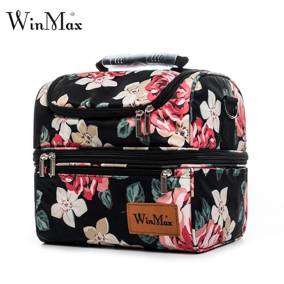 Winmax Brand Thicken Nylon Cooler Lunchbox Insulated Thermal Food Fresh Wine Picnic Tote Handbags Men Women Cooler Bag Lunch Bag sannen 7l double decker cooler lunch bags insulated solid thermal lunchbox food picnic bag cooler tote handbags for men women