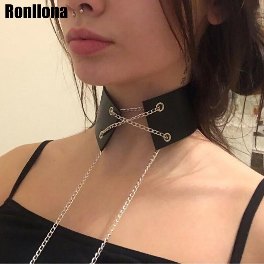 Women Leather Harness Collar Straps Adjustable Bondage Goth BDSM Fetish Necklace