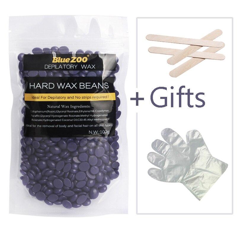 Natural <font><b>Depilatory</b></font> Wax <font><b>Hair</b></font> <font><b>Removal</b></font> Hard Wax Beans No Strip Film Wax 100g Lavender Flavor Solid Beans <font><b>Easy</b></font> <font><b>To</b></font> <font><b>Use</b></font> For Full Body