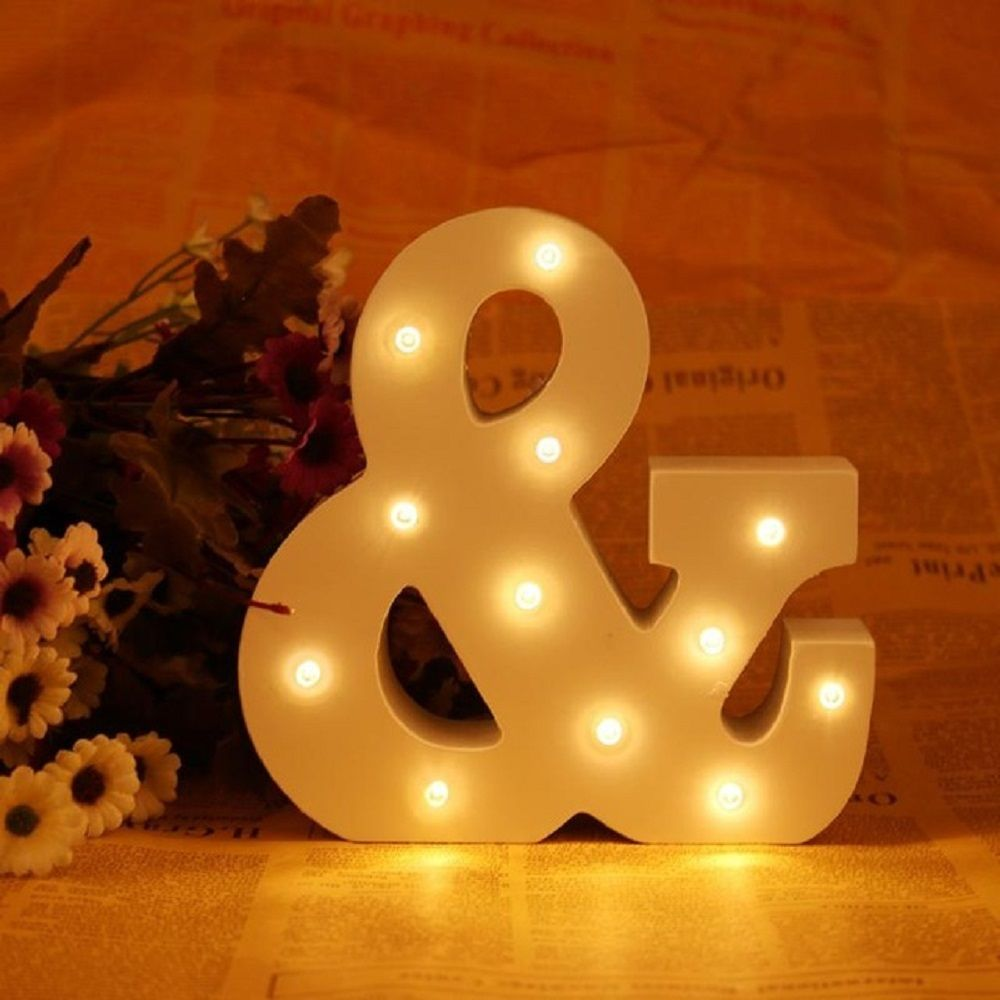 New Wedding Event Decoration Gifts White Wooden Letter LED Marquee Sign Alphabet Light Indoor Wall Light Up Night Light metal bar led marquee sign light up vintage signs light bar indoor deration