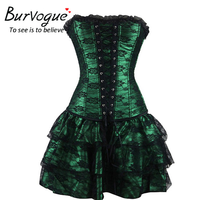 f5679a498789e Sexy Steampunk Corsets and Bustiers Burlesque Gothic Lace Steampunk Corset  Dress Plus Size Costume Floral Bustier Dress