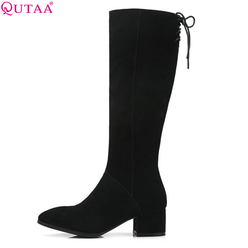91770e93962 QUTAA 2019 Women Knee High Boots Platform Elegant Casual Pointed Toe Winter  Shoes Women Motorcycle Boots Big Size 34-39