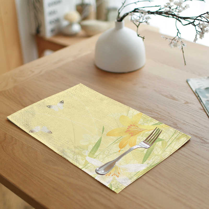Country Style Flower Print Linen Napkin Rape flowers Butterfly Sunflower Farmhouse Home Living Room Table Decoration Tablecloth
