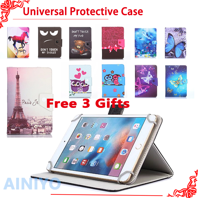 Universal Cover for DEXP Ursus N110 3G/P110 3G/A110i 10.1 inch Tablet Printed PU Leather Stand Case + free 3 gifts аксессуар чехол флип dexp ixion es150 blue