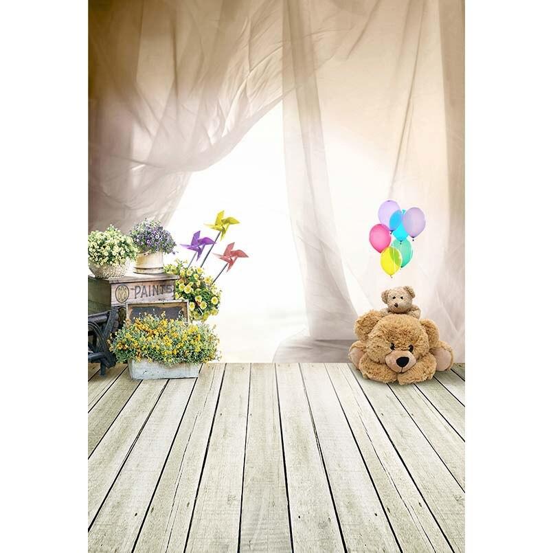 Фон для фотосъемки с изображением милого медведя цветов воздушных шаров, портретный Фотофон для фото, Виниловый фон для дня рождения, свадь...