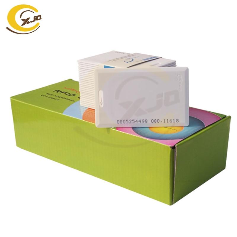 Xjq frete grátis 125 khz manga rfid cartão tk4100 em id clamshell cartão 1.8mm espessura proximidade id cartão para controle de acesso entrada
