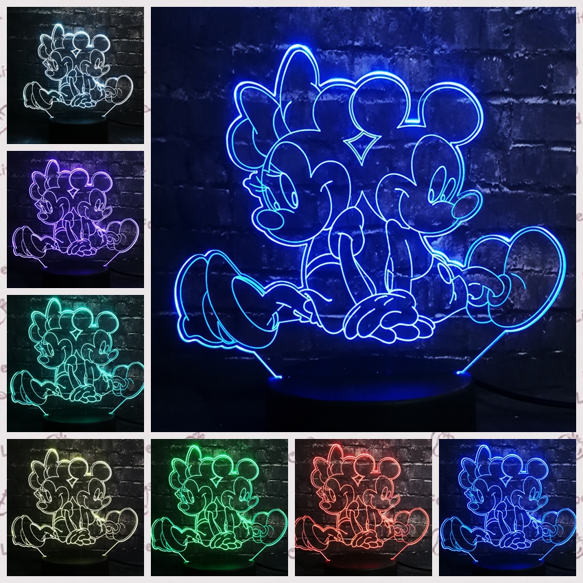 New 2019 3D LED Lamp Mouse Mickey Minnie Friends USB Base 7 Colors Change Night Light Decor Christmas New Year Girl Kid Gift