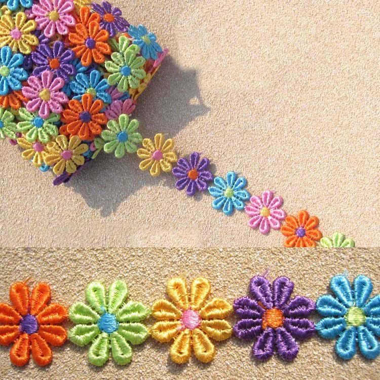 Chiều rộng 25 mét Song Phương 1 Yard Ren Cắt Băng Hoa Đầy Màu Sắc Thêu Net Băng Băng Vải Trang Chủ Trang Trí Tóc Phụ Kiện