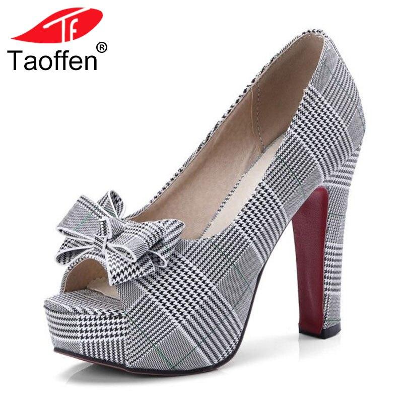 TAOFFEN Size 32-43 Chic Women Platform Bowknot High Heel Shoes Women Peep Toe Bowtie Spike Heel Pumps Office Ladies Footwear chic big bowknot leaf pattern bottom women s reversible sun hat