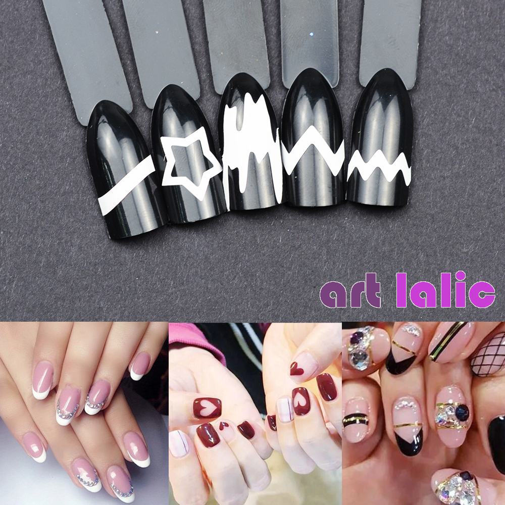 24pcs/set Nail Art Guide Tips Hollow Stencils Nail Stickers French Manicure Template 3D Vinyls Decals Form Styling Tool 10pcs nail art stamping printing skull style stainless steel stamp for diy manicure template stencils jh461 10pcs