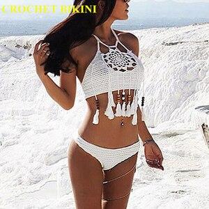 CROCHET BIKINI Sexy Halter Tie Knitting New Beach Swimwear Halter Beaded Tassel Crop Top Brazil Bikini Swimsuit Bathing Suit(China)