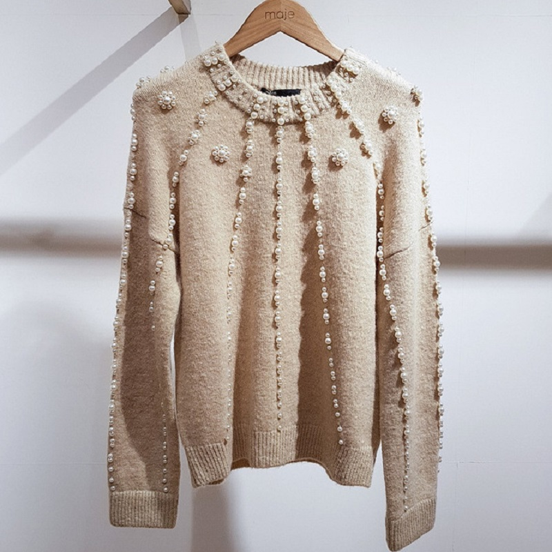 2019 Spring High Quality France Style Pearls Beading Knitted